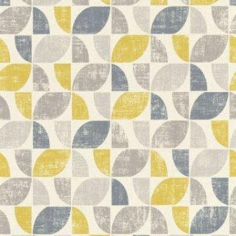 טפט גאומטרי וינטג צהוב אפור