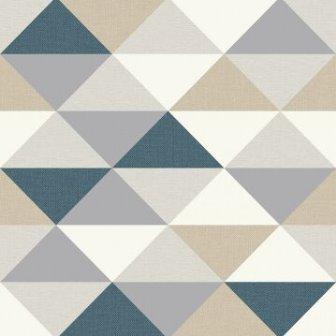 טפט גאומטרי משולשים בצבע כחול אפור