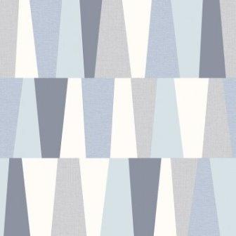 טפט גאומטרי צורות בכחול אפור ולבן