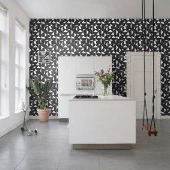 טפט גאומטרי שחור לבן למטבח