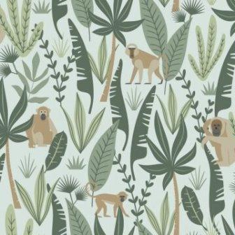 טפט ג'ונגל על רקע ירוק מנטה
