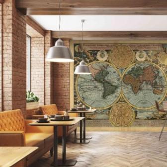 טפט דיגיטלי מפת עולם עתיקה בגוונים חיים